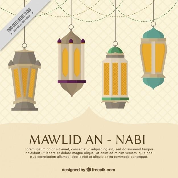 Mawlid Un Fond Nabi Avec Des Lanternes Vecteur gratuit