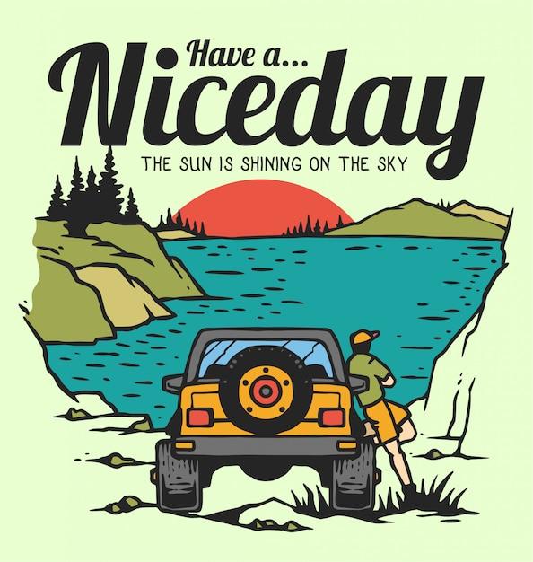 Un mec profitant des jours d'été avec une voiture tout-terrain près du lac et du coucher du soleil en illustration vintage de vecteur des années 80 Vecteur Premium