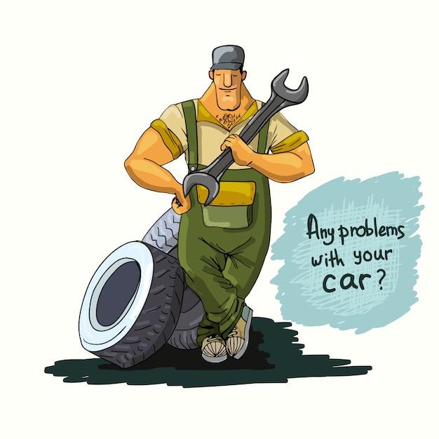 Mécanicien automobile avec clé et pneus Vecteur Premium
