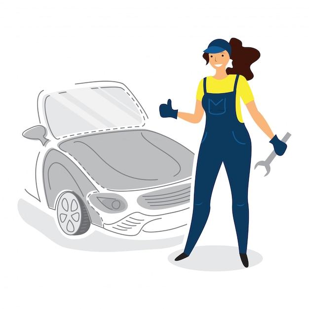 Mécanicien automobile féminin dans un style plat avec le pouce vers le haut Vecteur Premium