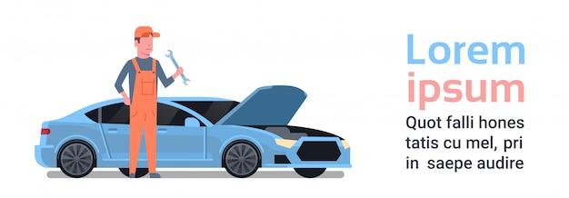 Mécanicien automobile réparation de voiture cassée. modèle de texte. concept de service automatique Vecteur Premium