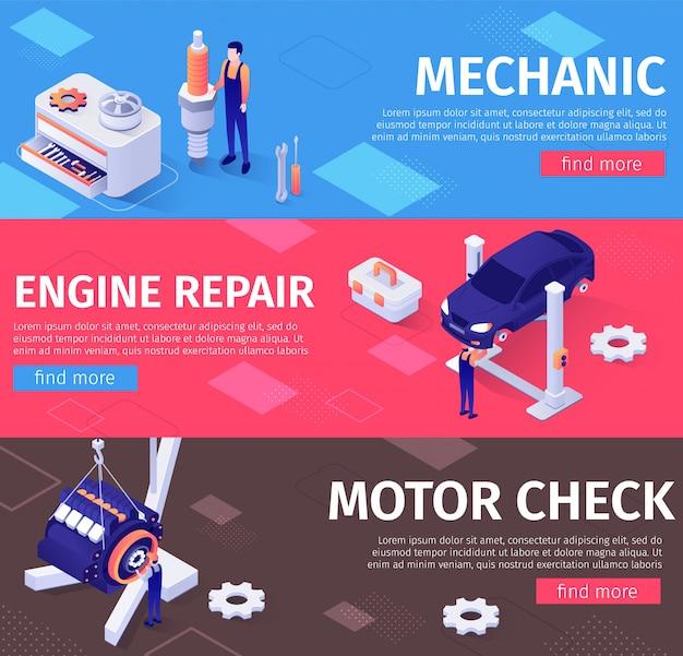 Mécanicien, bannières de réparation et de vérification de moteurs Vecteur Premium