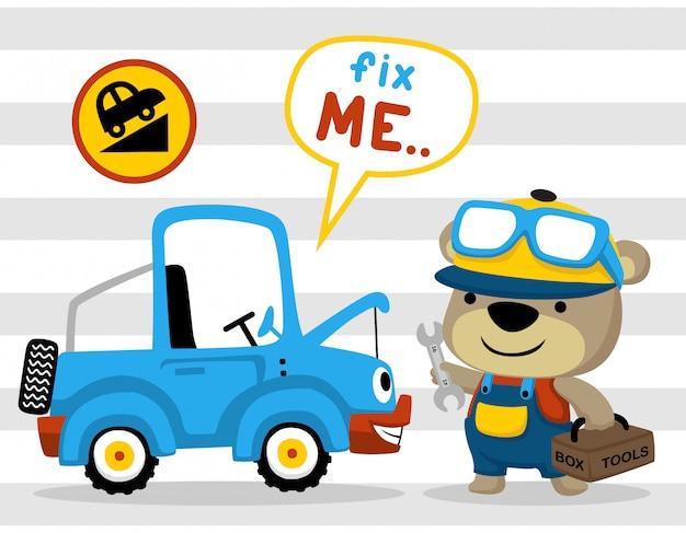 Mécanicien de dessin animé avec voiture drôle sur fond rayé Vecteur Premium