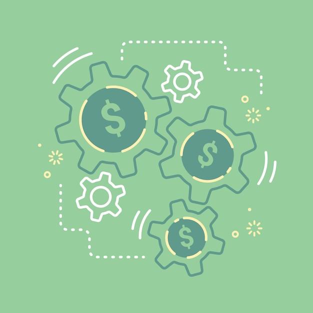 Mécanisme financier cog of money gear make business concept croissance de vecteur Vecteur Premium