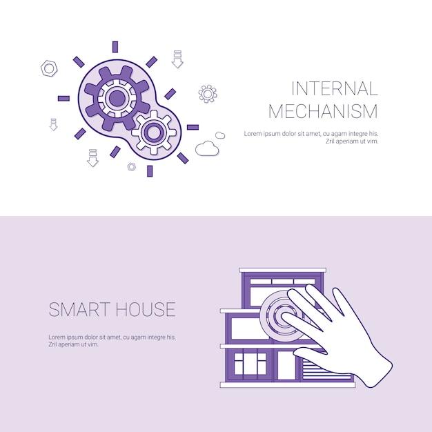 Mécanisme interne et bannière web de modèle de concept de maison intelligente avec espace de copie Vecteur Premium