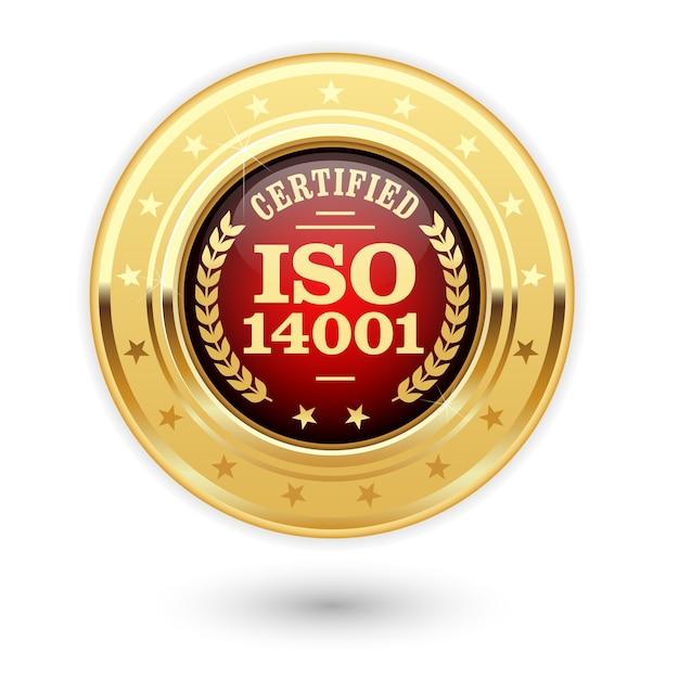 Médaille Certifiée Iso 14001 Vecteur Premium