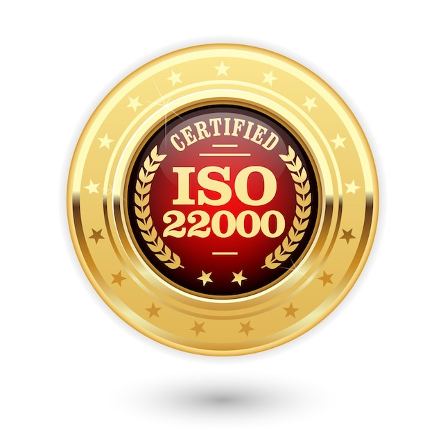 Médaille Certifiée Iso 22000 - Management De La Sécurité Alimentaire Vecteur Premium