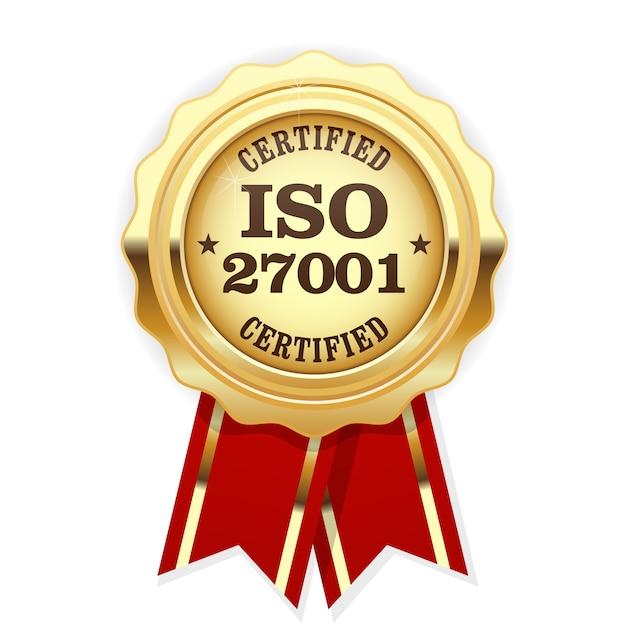 Médaille Certifiée Iso 27001 Avec Ruban Rouge Vecteur Premium