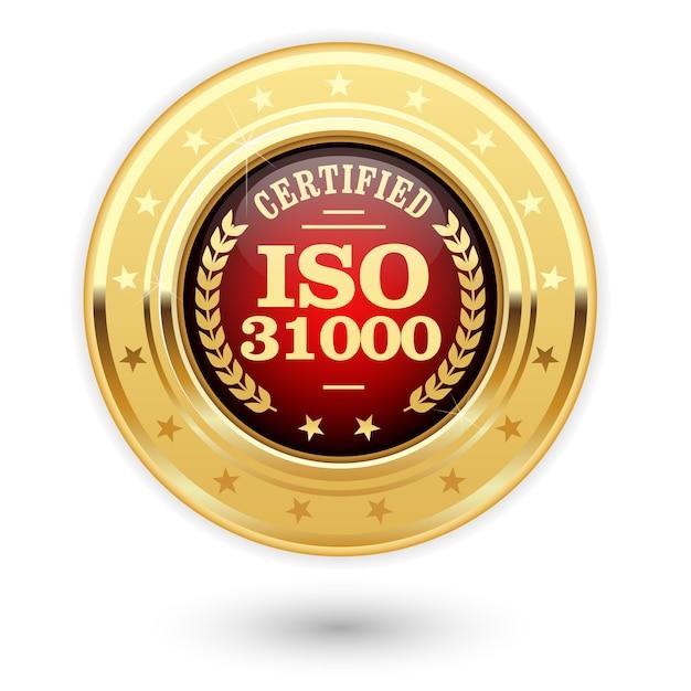Médaille Certifiée Iso 31000 - Gestion Des Risques Vecteur Premium