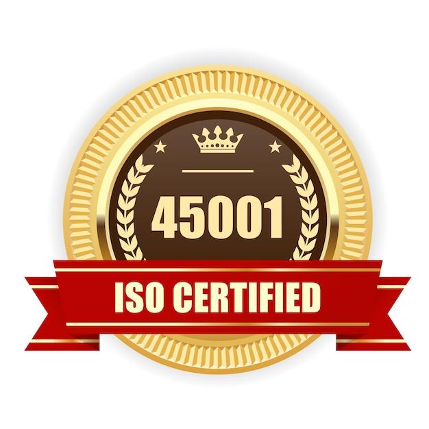 Médaille Certifiée Iso 45001 - Santé Et Sécurité Au Travail Vecteur Premium