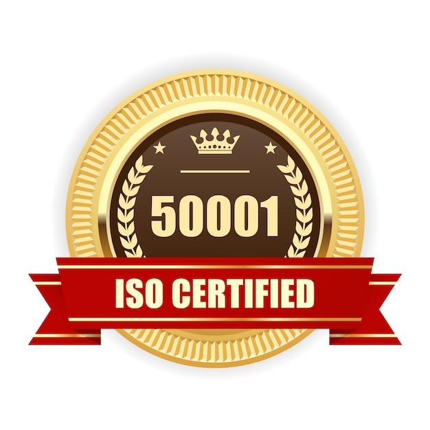 Médaille Certifiée Iso 50001 - Gestion De L'énergie Vecteur Premium