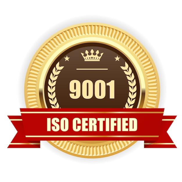 Médaille Certifiée Iso 9001 - Management De La Qualité Vecteur Premium