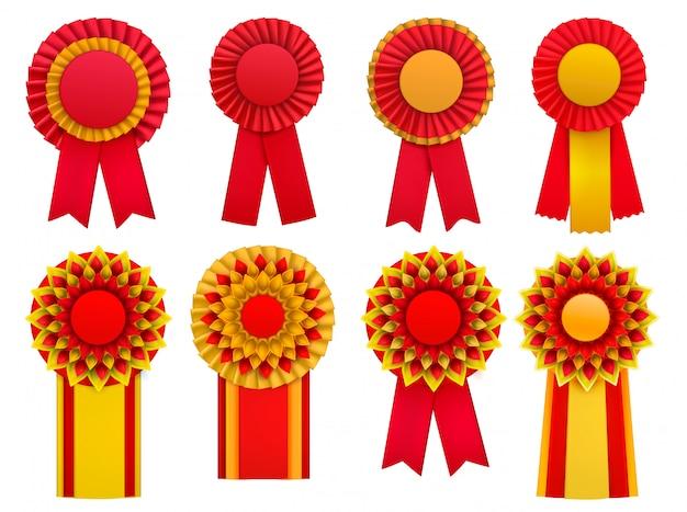 Médaille Décorative Rouge Doré Jaune Récompenses Circulair Rosettes Badges épinglettes Avec Rubans Ensemble Réaliste Vecteur gratuit