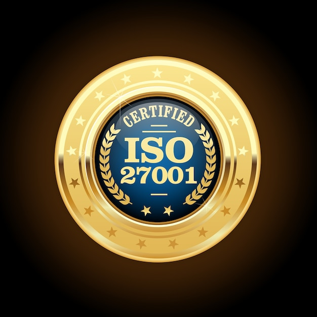 Médaille De La Norme Iso 27001 - Management De La Sécurité De L'information Vecteur Premium