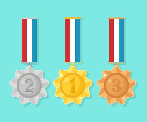 Médaille D'or, D'argent Et De Bronze Pour La Première Place. Trophée, Récompense Du Gagnant Sur Fond Bleu. Ensemble D'insigne Doré Avec Ruban. Réalisation, Victoire. Illustration Vecteur Premium