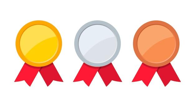 Médaille D'or, D'argent Et De Bronze Avec Ruban Rouge. Vecteur Premium