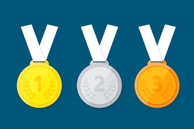 Médaille sportive pour les trois premiers gagnants. Vecteur Premium