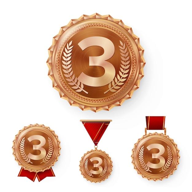 Médailles de bronze de champion Vecteur Premium