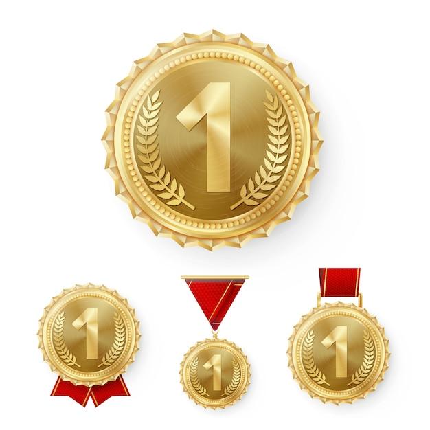 Médailles de champion Vecteur Premium