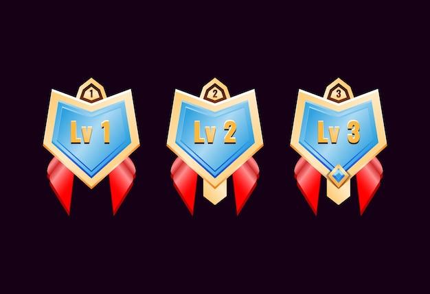 Médailles D'insigne De Rang De Diamant D'or Brillant De Jeu D'interface Utilisateur Avec Ruban Rouge Vecteur Premium