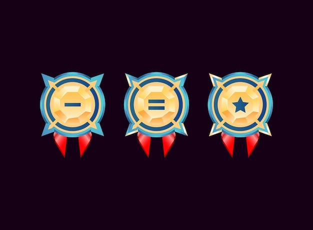 Médailles D'insigne De Rang De Diamant D'or Brillant Vecteur Premium