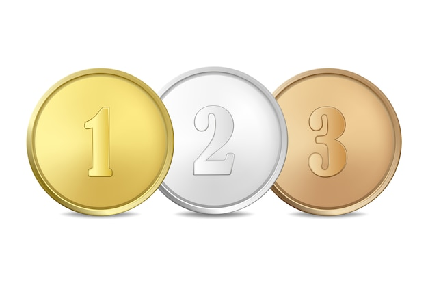 Médailles D'or, D'argent Et De Bronze Sur Fond Blanc. Les Premier, Deuxième, Troisième Prix. Vecteur Premium