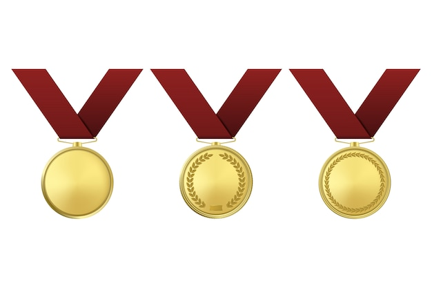 Médailles D'or Sur Fond Blanc. Vecteur Premium