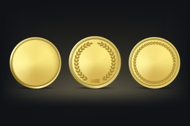 Médailles D'or Sur Fond Noir. Vecteur Premium