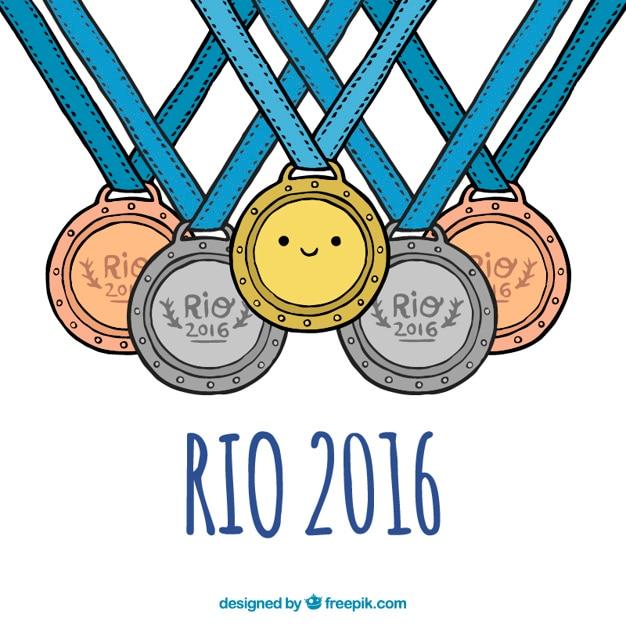 Médailles pour brazil jeux olympiques Vecteur gratuit