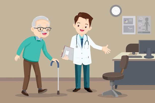 Un Médecin Aide Son Grand-père à Aller Voir Le Promeneur Vecteur Premium