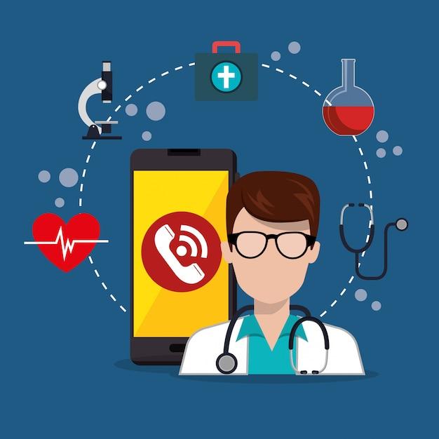 Médecin avec application de services médicaux smartphone Vecteur gratuit