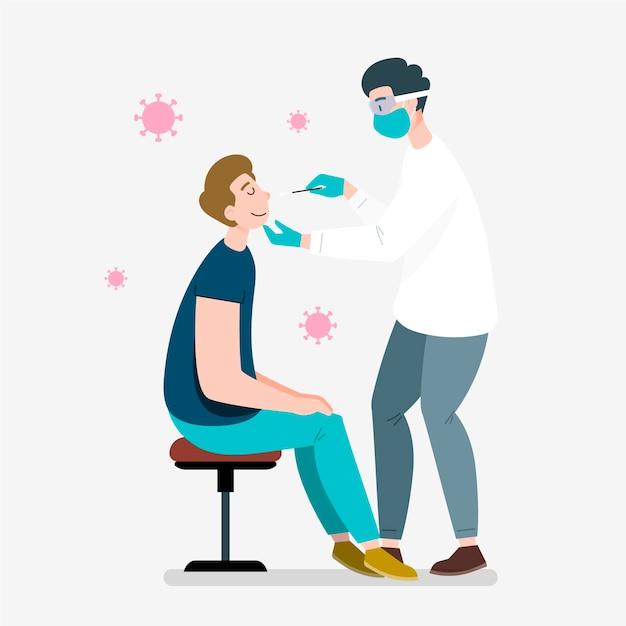 Médecin Appliquant Un Test D'écouvillonnage Nasal Vecteur gratuit