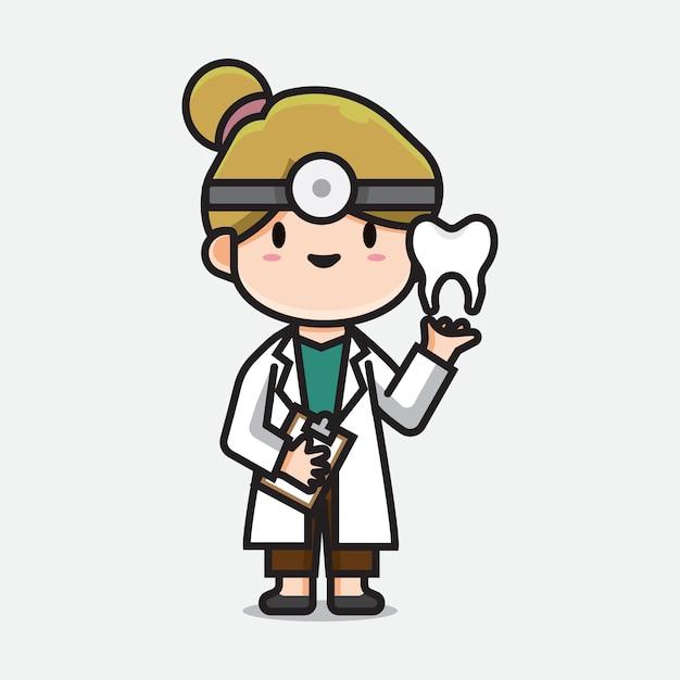 Médecin Dentiste Mignon Vecteur Premium