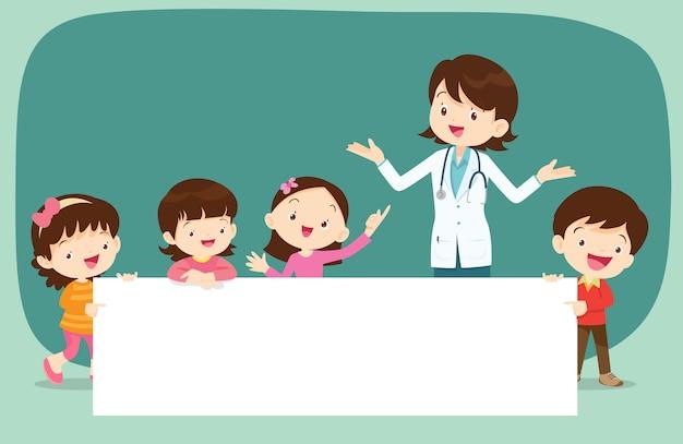 Médecin et enfants avec bannière Vecteur Premium
