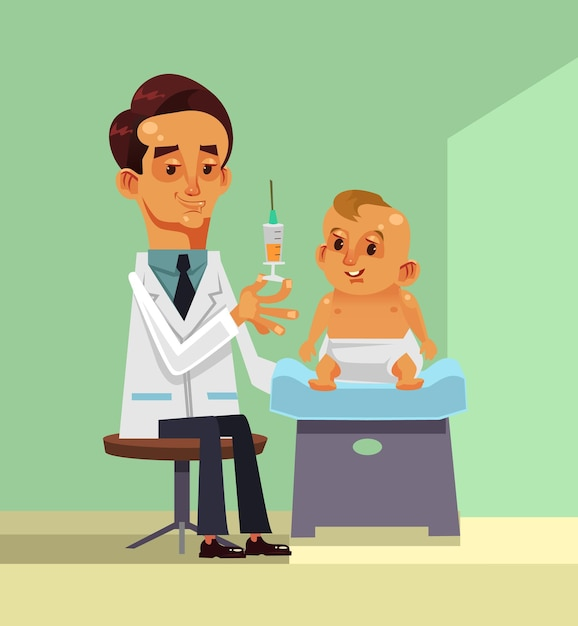 Médecin Faisant Illustration De Dessin Animé De Vaccination Enfant Vecteur Premium