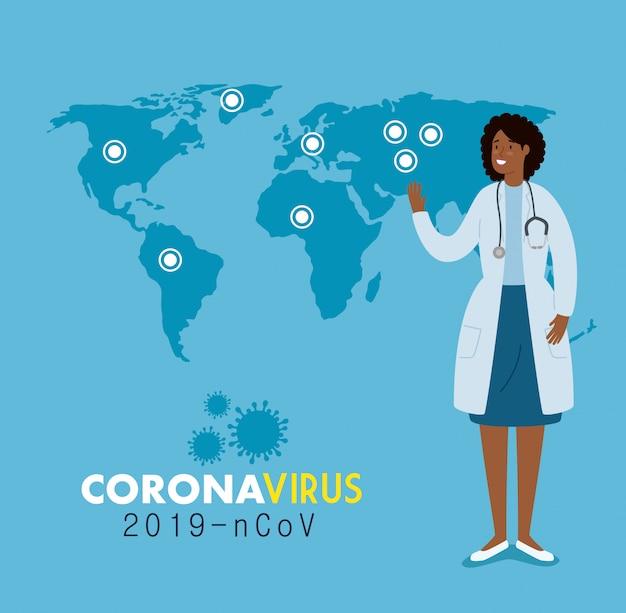 Médecin Féminin Et Carte Du Monde Avec Des Infections 2019 Ncov Vecteur gratuit