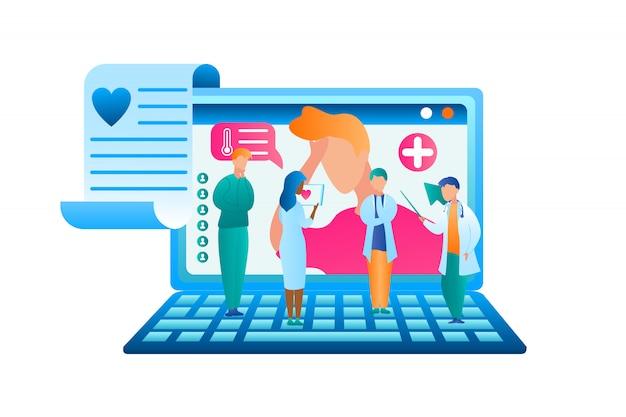 Médecin de groupe vector plate discuter du traitement des patients Vecteur Premium