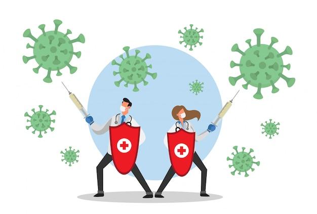 Médecin Homme Et Femme Se Battant Avec Des Seringues Contre Le Virus Corona Vecteur Premium