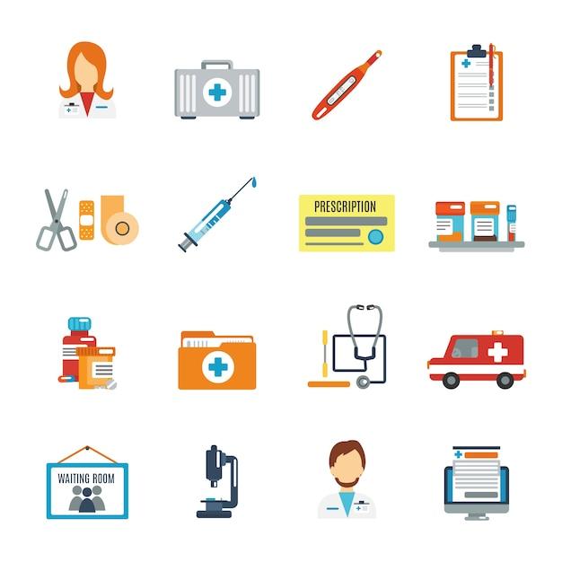 Médecin icône plat Vecteur gratuit