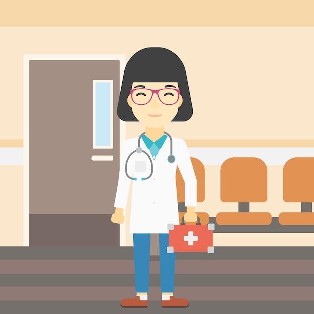 Médecin avec illustration vectorielle de premiers secours boîte. Vecteur Premium