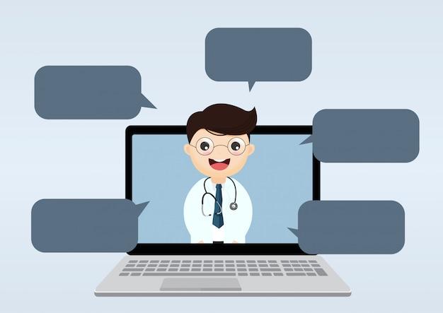 Médecin à l'intérieur d'un ordinateur portable avec des bulles Vecteur Premium