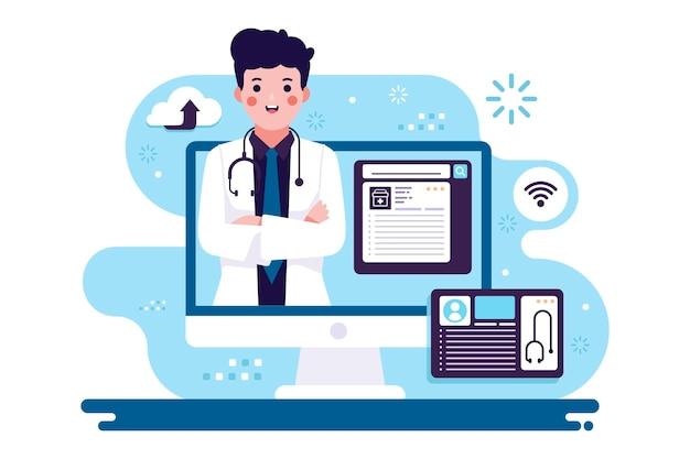 Médecin En Ligne Avec Ordinateur Vecteur gratuit