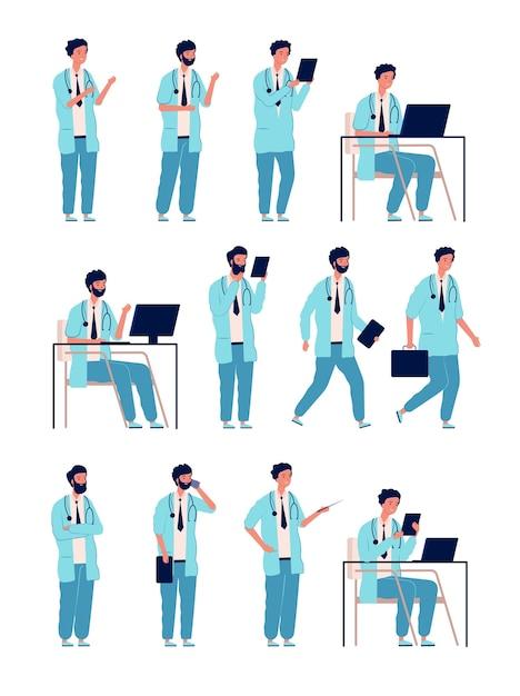 Médecin Mâle. Personne Médicale De Soins De Santé Au Travail Des Personnages De L'homme Gestionnaire Dans Des Poses D'action Vecteur Premium