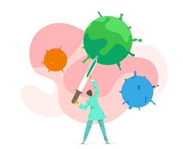 Médecin, Microbiologiste, Virologue, Prélève L'échantillon Du Virus. Analyse Bactériologique De Laboratoire Chimique Vecteur Premium