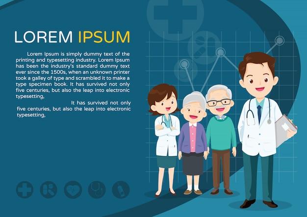 Médecin Et Modèle âgé Vecteur Premium