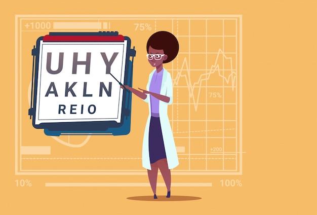 Médecin ophtalmologiste afro-américain avec hôpital de travail des cliniques d'ophtalmologiste et de test de vision Vecteur Premium