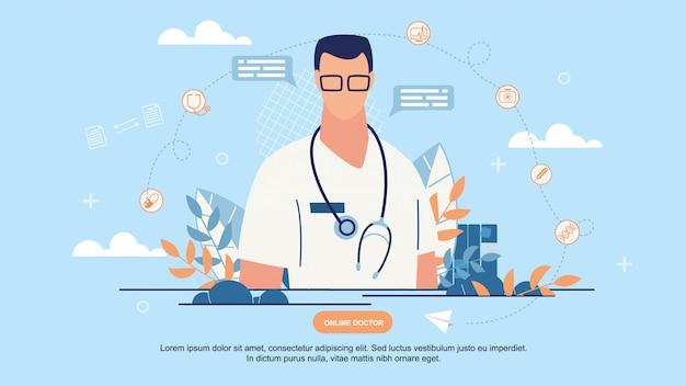 Médecin page en ligne Vecteur Premium