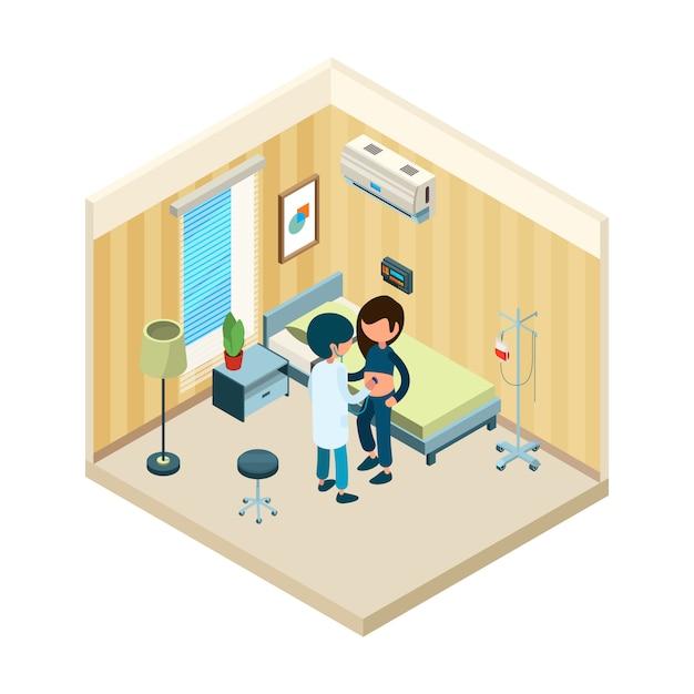 Médecin Et Patient. Medic, Debout, Lit, De, Patient, Dans, Hôpital, Traitement, Santé, Isométrique, Concept Vecteur Premium