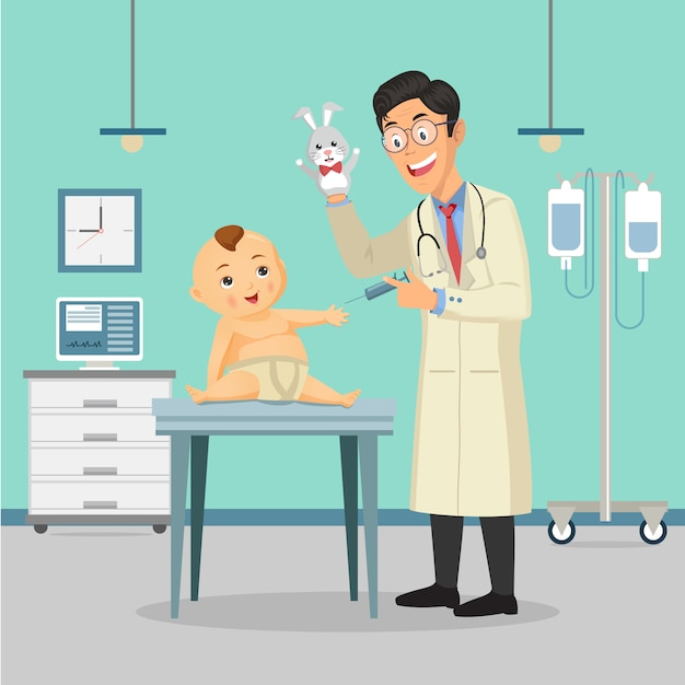 Médecin pédiatre Vecteur Premium