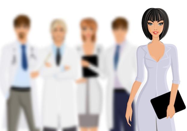 Médecin avec le personnel médical Vecteur Premium